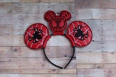 Mouse Ears Headband Birthday Favor Hat Spiderman  Inspired Costume Photo Prop Pretend Play Mouse Head Halloween Boy Girl by kountrydelites on Etsy