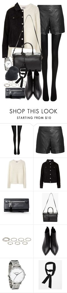 """Outfit for autumn with shorts and tights"" by ferned ❤ liked on Polyvore featuring Wolford, Theory, Acne Studios, Topshop, Marc Jacobs, Yves Saint Laurent, Akira, Zara, Roberto Collina and women's clothing"