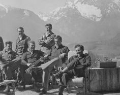 bottom row L to R: Captain Lewis Nixon, Major Richard D. Winters, unknown, and Lieutenant Harry Welsh in Berchtesgaden