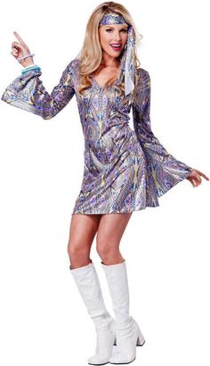 Shimmery 70u0027s Disco Dance Babe Groovy Halloween Costume Outfit Adult Women  sc 1 st  Pinterest & 60u0027s Costumes | 1960s Halloween Costume for Adults or Kids ...