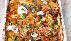 Chicken & Chorizo Bake Peppers, Sweet Potatoes & Spuds