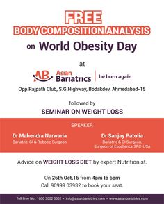 Join Mega #weightloss seminar & get free body composition analysis on #WorldObesityDay at India's best Bariatric surgery & Metabolic surgery hospital.