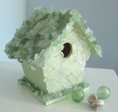 *Sea glass bird house via beachhouseliving. Sea Glass Beach, Sea Glass Art, Jewel Of The Seas, Sea Glass Crafts, House Ornaments, Beach Crafts, Glass Birds, Beach Art, Bird Feathers