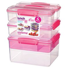 Sistema Pink Snack Attack Stacking Container Set (130 DKK) ❤ liked on Polyvore featuring home, kitchen & dining, food storage containers, freezer container, stacking container, food container and freezer food storage containers
