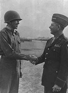 Lt Ernest Childers receives the Congressional Medal of Honor from General Devers on April 8, 1944 for distinguished service on the Italian front. Childrers was the first Native American to be honored thus since the Indian Wars.