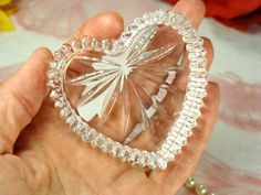 Pretty Little Crystal Glass Heart Dish by HappyGalsVintage on Etsy