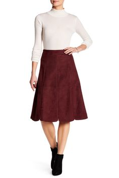 Image of Catherine Malandrino Faux Suede A-Line Skirt