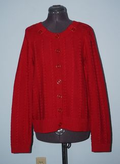 Christopher & Banks NWT L Red Gold Button Front Cableknit Sweater Cardigan Top #ChristopherBanks #Cardigan