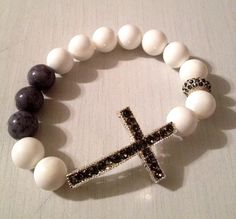 www.etsy.com/shop/LACollectionJewelry  #LACollectionJewelry #handmade #bracelet #beadbracelet #crossbracelet #Grey #White #Fashion #Accessories