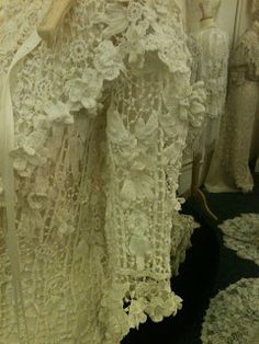 Here are some of the beautiful Irish Crochet  gowns on display at  THE SHEELIN LACE MUSEUM                                                ...