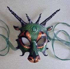 Your place to buy and sell all things handmade Copper Dragon, Jade Dragon, Dragon Mask, Fantasy Make Up, Armor Clothing, Dragon Costume, Dragon Rider, Leather Mask, Masks Art