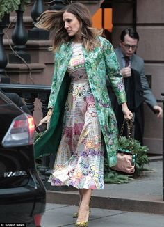 Clashing prints: Sarah Jessica Parker donned a bright outfit on Monday as she stepped out in New York