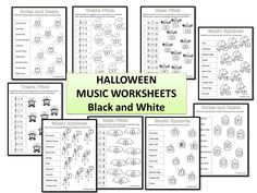 20 HALLOWEEN Themed Music Worksheets for the music classroom.  B/W so the students can color the worksheets themselves!   $