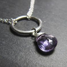 Circle Necklace with Amethyst..... I love simple beauty
