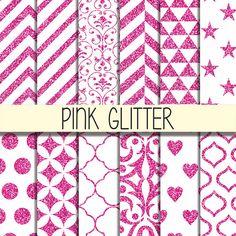 Pink Glitter Patterns  Instant Download   Set of by babushkadesign
