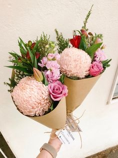 Flowers delivered daily in Melbourne. Our posy for 11 June included pastel chrysanthemum disbud, rose, alstromeria, tulip, scented stock and beautiful erica flower Flower Petals, My Flower, Flower Power, Bouquet Wrap, Hand Tied Bouquet, Flower Packaging, Flowers Delivered, Order Flowers, Floral Photography