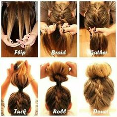 If only I had this kind of coordination!! Beautiful upside down French braid into a sock bun... #classy