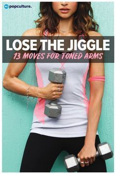 """Lose your """"bat wings"""" with these 13 arm exercises that will tone, tighten and burn fat from flabby arms. Fun and effective at-home workout for women - all you need is a set of dumbbells!"""