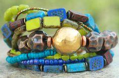 Desert Inspired Copper, Gold, Blue, Purple & Green Glass Charm Bracelet