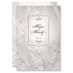 Σχεδιασμένο ειδικά για εσάς από την ομάδα του lovetale.gr - ένα μοναδικό σχέδιο σε λευκή δαντέλα με ανθρακί περιγράμματα αναγγέλλει τα ευχάριστα νέα σε ένα προσκλητήριο γάμου. http://www.lovetale.gr/lg-1404-c1-po.html
