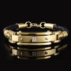 Men's Gold and Leather Bracelet | Timepieces International
