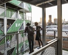 "LOT-EK has designed ""Drivelines Studios"", a modular residential building in Johannesburg, South Africa, using 140 upcycled shipping containers. Container Architecture, Container Buildings, Architecture Design, Interior Balcony, Studio Interior, Used Shipping Containers, Shipping Container Homes, Container Conversions, Atlas"