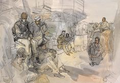 Scene on the Deck of a United States Landing Ship Tank: British Troops and US…