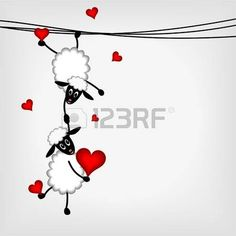 Two sheep and little lamb hanging on washing line - vector illustration photo