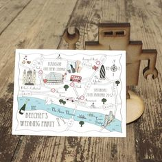 wedding or party map colour accent postcard by cute maps | notonthehighstreet.com