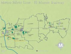oil paint map of the LA Metro's Silver Line -- El Monte Busway section (and the communities through which it passes)
