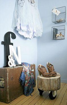 Love the tree stump on wheels and letter arrangement. Tree stump stool w/ castors
