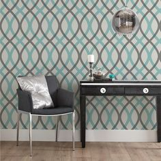Wallpaper  from Bouclair  Grey and turquoise, put this up on the basement wall today...