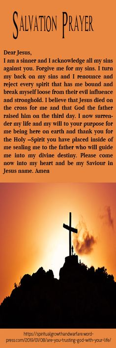 Get a printable bookmarker of the salvation prayer that you can share with friends and use to christ. Send me a message if you want. Salvation Prayer, Faith Prayer, Prayer Scriptures, Christian Living, Christian Faith, Praying For Your Family, Spiritual Warfare Prayers, Freedom In Christ, Prayer Warrior