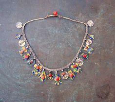 alt Kabylen silber kette mit emalien und edel koralle von etuareg auf Etsy