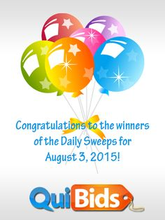 Congrats newf1970, locaine, maryr99999, and prune1977 for winning 50 free bids in the 8-3-15 Daily Sweepstakes!
