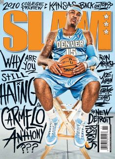 Basketball Drawings, Basketball Posters, Basketball Legends, Sports Basketball, Slam Magazine, Sports Magazine, Magazine Covers, Carmelo Anthony Wallpaper, Carmelo Anthony Nuggets
