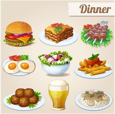 Tasty dinner icons design vector - Food Icons free download