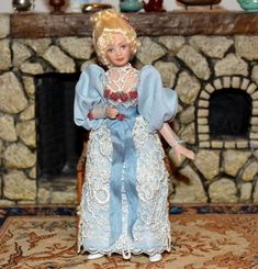 Miniature Porcelain Doll Lady Woman Dollhouse 1:12  #Unbranded