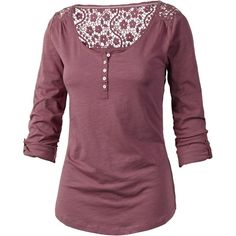 Fat Face Liera Henley T-Shirt ($21) ❤ liked on Polyvore featuring tops, t-shirts, shirts, pansy purple, mini t shirt, cotton shirts, long-sleeve henley shirts, layering t shirts and rolled sleeve t shirt