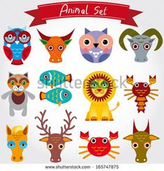 Illustration of cute animal set including lion, cat, horse, cow, scorpion, cancer, fish, owls, deer, goat, ox