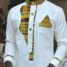 African mens wear/ankara design/Kente by PageGermanyShop on Etsy African Shirts For Men, African Attire For Men, African Clothing For Men, Couples African Outfits, African Wear Dresses, African Inspired Fashion, African Print Fashion, Ankara Fashion, Dashiki For Men