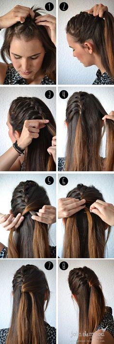 Semi half French braid - semi, midway, half, one sided, french braided hairstyle