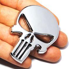 3D Skull Metal Sticker