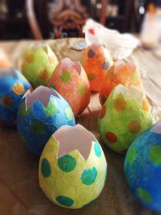 Dino Baby Shower. Paper mâché dinosaur eggs for baby shower!