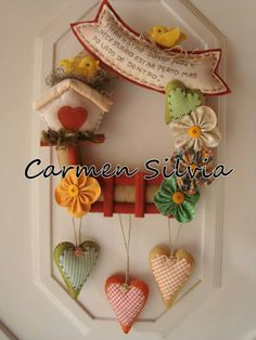 Patchwork - Applique - Wreath - hearts -birdhouses - mixed media