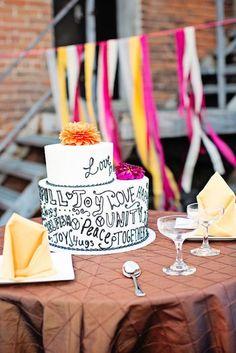 A street art inspired cake. Source: my sweet and saucy shop #weddingcake