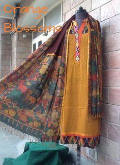 A handloom Kalamkari suit by Orange Blossoms. To buy, visit www.facebook.com/orangeblossomwomensclothing Salwar Kameez, Kurti, Cotton Textile, Straight Cut, Palazzo Pants, Asian Fashion, Printed Cotton, Blossoms, Sarees