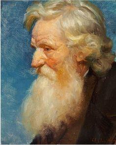 Anna Ancher: Gammel mand; maleri, ca. 1918. Portrættet er et studie til »Vorherre modtager det døde barn«. Fra Helga Anchers dødsbo.