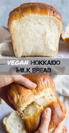 Vegan Hokkaido milk bread - a vegan version. Vegan Hokkaido milk bread - a vegan version of the softest fluffiest bread ever! This eggless and dairy free milk bread has a cloud-like texture and is perfect for breakfast and snacking. Vegan Foods, Vegan Dishes, Yummy Vegan Food, Healthy Vegan Breakfast, Tasty, Healthy Snacks, Smoothies Vegan, Hokkaido Milk Bread, Breakfast Desayunos