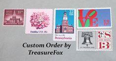 Reserved Custom Order for Devon .. Unused Vintage US Postage Stamps by TreasureFox on Etsy